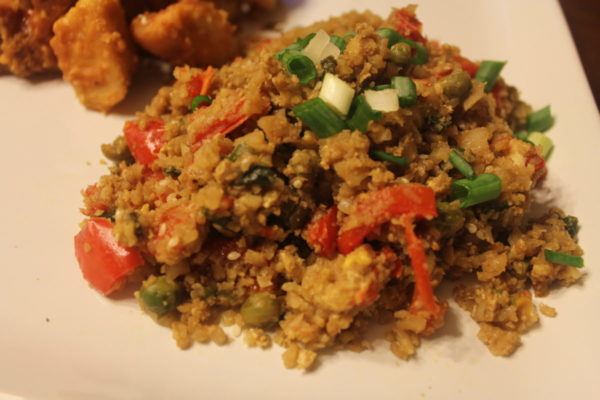 "My Table of Three's version of a low carb Cauliflower ""Fried Rice"","